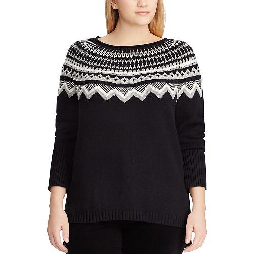 Plus Size Chaps Fairisle Boatneck Sweater