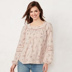 Petite LC Lauren Conrad Love, Lauren Shirred Peasant Top