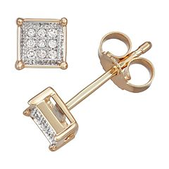 10k Gold Diamond Accent Stud Earrings