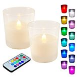 """Color Changing LED 3.75"""" x 3"""" Unscented Wax Pillar Candle 3-piece Set"""