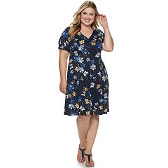 f665b169f50 Short Sleeve Dress. Plus Size Suite 7 Floral Fit   Flare Dress