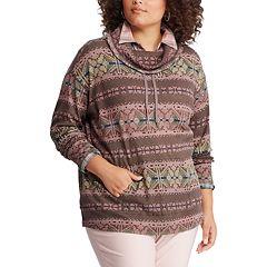 Plus Size Chaps Holiday Print Cowlneck Sweatshirt
