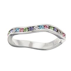 Brilliance Rainbow Wavy Ring with Swarovski Crystal