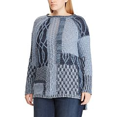 Plus Size Chaps Leaf Stitch Sweater