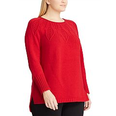 Plus Size Chaps Leaf Stitch Sweater