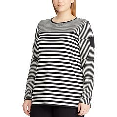Plus Size Chaps Striped Pocket-Sleeve Top