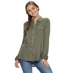 Juniors' SO® Knit-to-Woven Button Down Shirt
