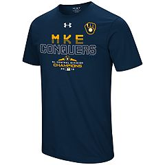 Men's Under Armour Milwaukee Brewers 2018 NL Central Division Champions Team Conquer Tee