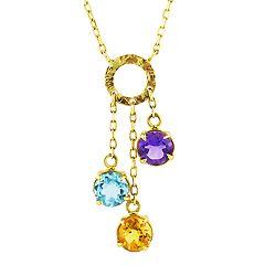 14k Gold Gemstone Trio Necklace