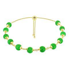 14k Gold Jade Station Lariat Bracelet