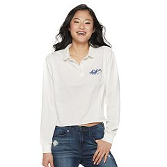 Juniors' 'Go With The Flow' Cropped Polo Top