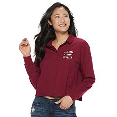 Juniors' Tailgate Captain Cropped Polo Top