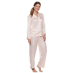 Women's Apt. 9® Notch Collar Satin Shirt & Pants Pajama Set