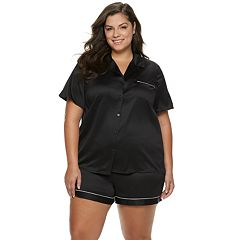 Plus Size Apt. 9® Notch Collar Satin Shirt & Shorts Pajama Set