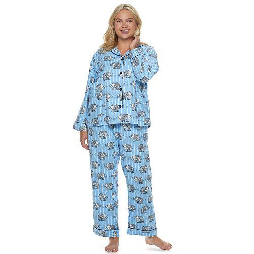 Plus Size Star & Skye Flannel Shirt & Pants Pajama Set