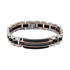 Men's Stainless Steel Carbon Fiber Cubic Zirconia Link Bracelet