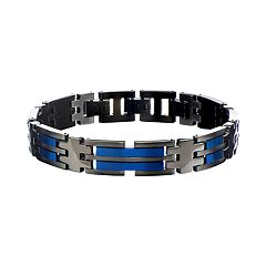 Men's Stainless Steel Black & Blue Link Bracelet