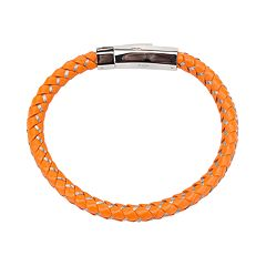 Men's Orange Braided Leather Bracelet