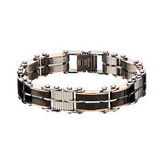 Men's Black & Rose Gold Tone Stainless Steel Reversible Link Bracelet