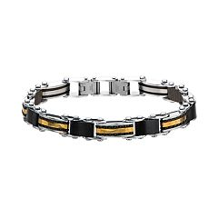 Men's Black & Gold Tone Stainless Steel Reversible Link Bracelet