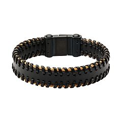 Men's Black Leather Cable Edge Bracelet
