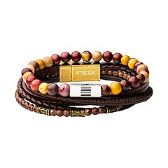 Men's Beaded & Leather Stacking Bracelets