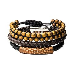 Men's Brown Beaded & Leather Stackable Bracelet Set
