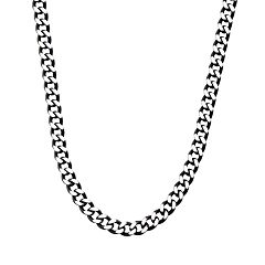 Men's Black Stainless Steel Diamond-Cut Chain Necklace