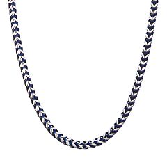 Men's Blue Stainless Steel Herringbone Chain Necklace