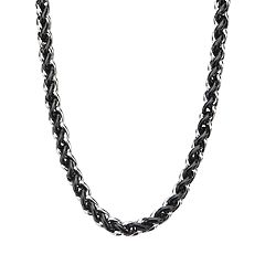 Men's Stainless Steel & Black Wheat Chain Necklace