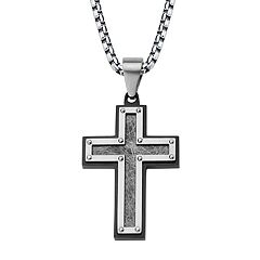 Men's Textured Black Stainless Steel Cross Pendant Necklace
