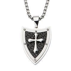Men's Cross & Shield Pendant Necklace