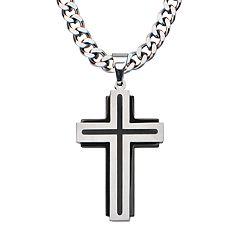 Men's Stainless Steel Black Cross Pendant Necklace