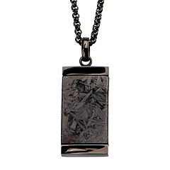 Men's Solid Carbon Graphite Dog Tag Pendant Necklace