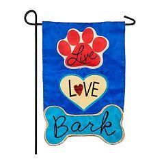 Indoor / Outdoor 'Live Love Bark' Garden Flag