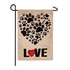 Indoor / Outdoor Paw Print 'Love' Garden Flag