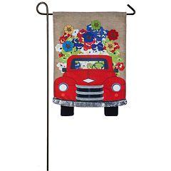 Indoor / Outdoor Red Truck & Flowers Garden Flag
