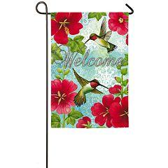 Indoor / Outdoor Hummingbird & Hollyhock Garden Flag