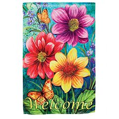 Indoor / Outdoor Colorful Floral 'Welcome' Garden Flag