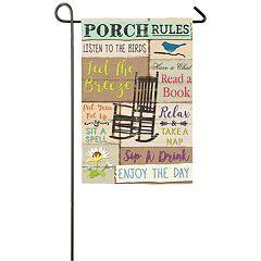 Indoor / Outdoor 'Porch Rules' Garden Flag