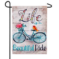Indoor / Outdoor 'Beautiful Ride' Bicycle Garden Flag