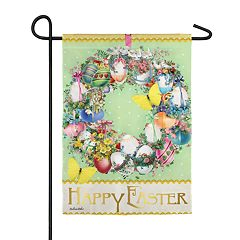 Indoor / Outdoor Egg Wreath Easter Garden Flag