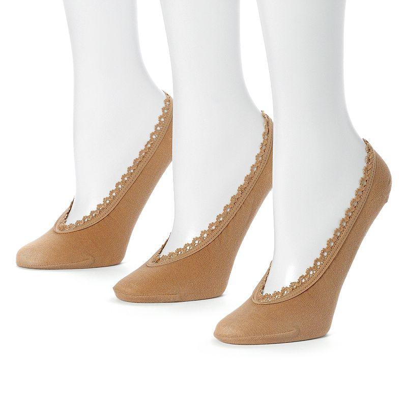 Apt. 9 3-pk. Lace-Trim Liner Socks