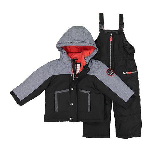 10492f798bb Boys 4-7 Carter s Colorblock Hooded Heavyweight Jacket   Bib Snow Pants Set