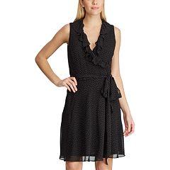 Women's Chaps Dot Ruffle Faux-Wrap Dress