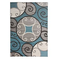 World Rug Gallery Toscana Modern Scroll Circles Rug