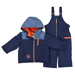 Toddler Boy Carter's Colorblock Heavyweight Hooded Winter Jacket & Bib Overall Snow Pants