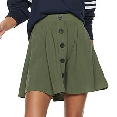 Juniors' Love, Fire Button Front Skirt