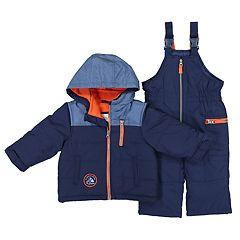Baby Boy Carter's Colorblock Heavyweight Hooded Winter Jacket & Bib Overall Snow Pants