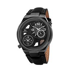 Joshua & Sons Men's Chronograph Black Leather Watch